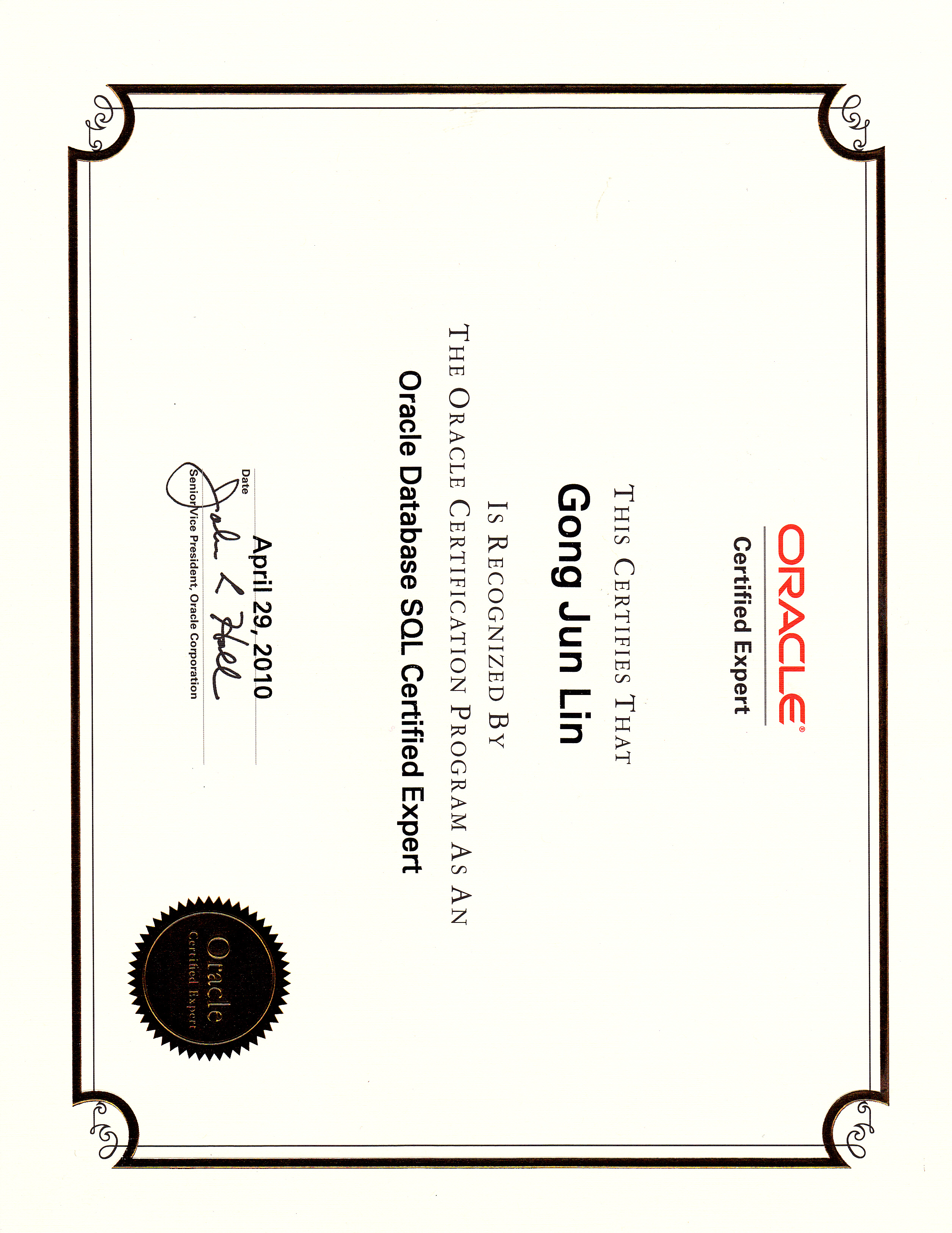Oracle Certificates George Lin A Hard Working Dbas Blog